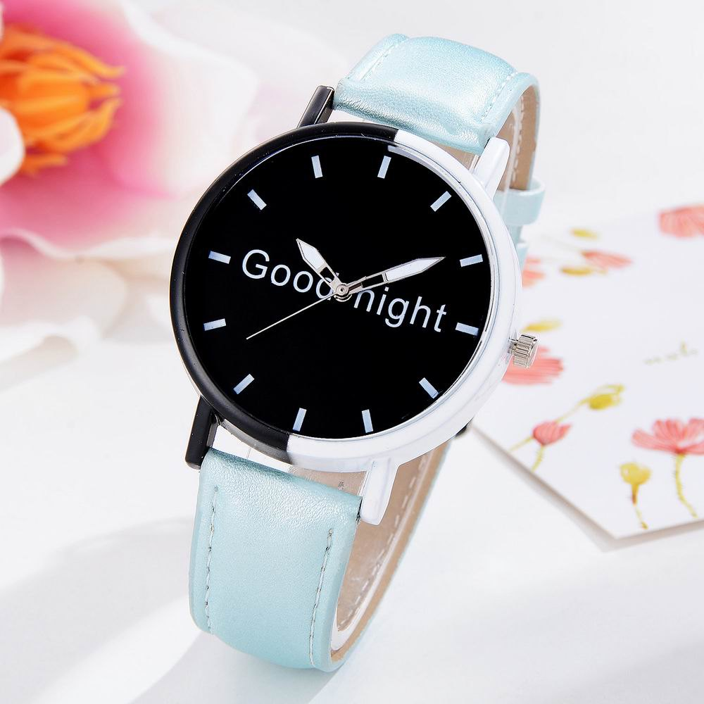 Outfits GAIETY Women's Black Dial Two Tone Bezel Leather Band Quartz Watch G513