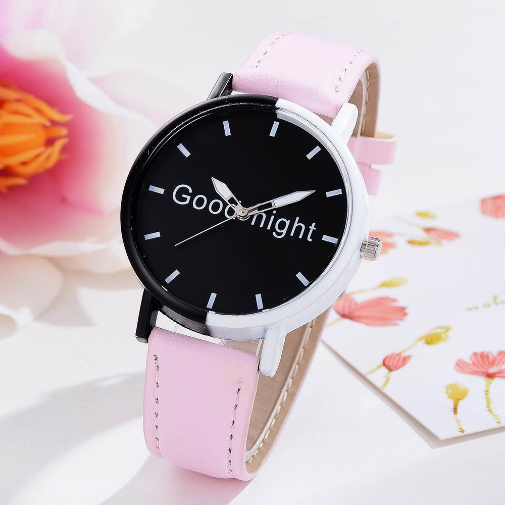 Fashion GAIETY Women's Black Dial Two Tone Bezel Leather Band Quartz Watch G513