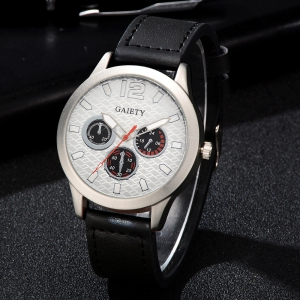 GAIETY Silver Tone Men's Round Case Leather Band Quartz Watch G510 -