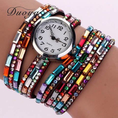 Affordable DUOYA D011 Women Colorful Rhinestones Quartz Bracelet Wrist Watch
