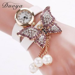 DUOYA D008 Women Analog Quartz Bracelet Wrist Watch with Diamond Pendant -