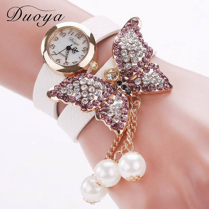Discount DUOYA D008 Women Analog Quartz Bracelet Wrist Watch with Diamond Pendant