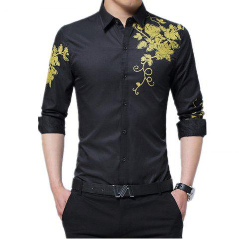 Fancy Male Long Sleeved Printed Shirt