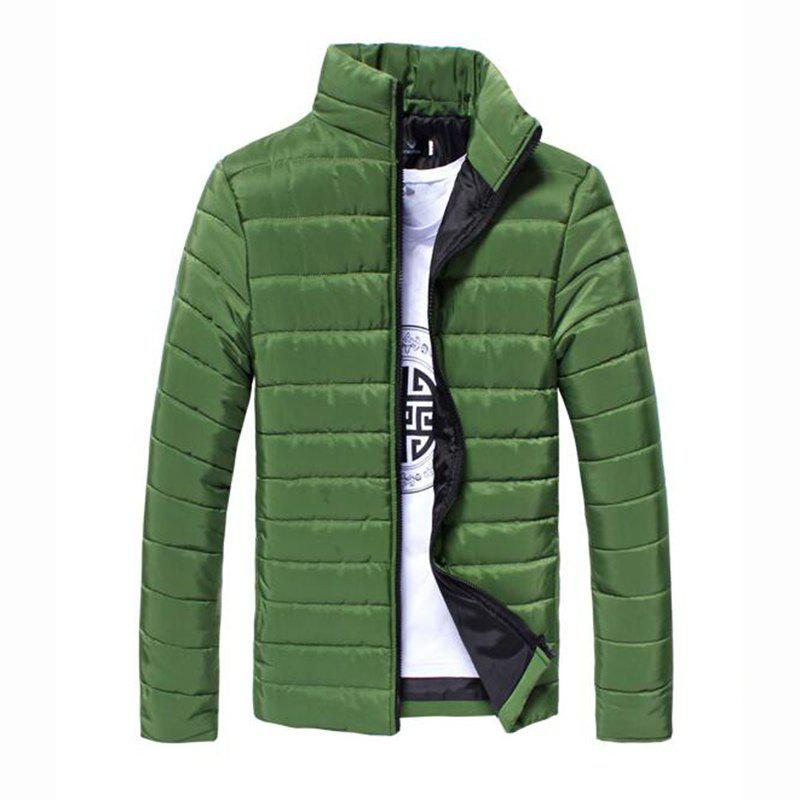 Affordable Men's Regular Padded Coat Chinoiserie Plus Size Solid Cotton Cotton Long Sleeves Coat