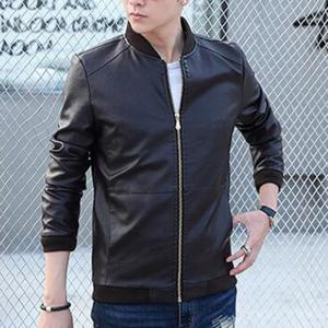 Men's Casual Daily Simple Winter Fall Leather Jacket Solid Stand Long Sleeve Regular PU -