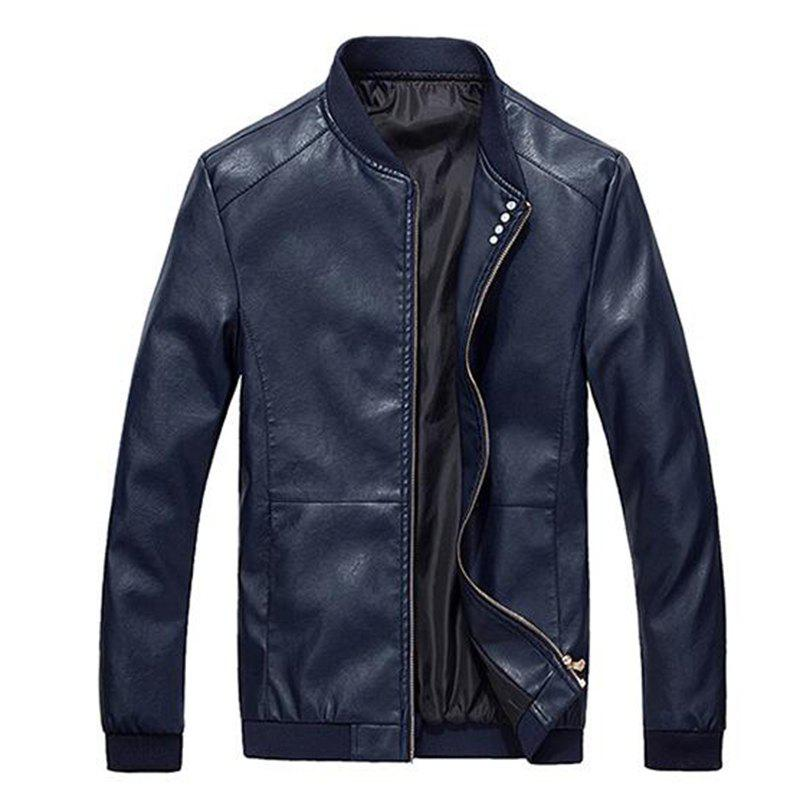 Cheap Men's Casual Daily Simple Winter Fall Leather Jacket Solid Stand Long Sleeve Regular PU