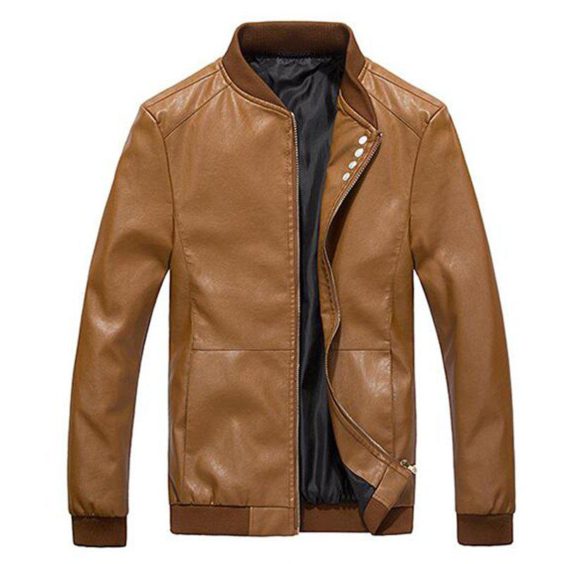 New Men's Casual Daily Simple Winter Fall Leather Jacket Solid Stand Long Sleeve Regular PU