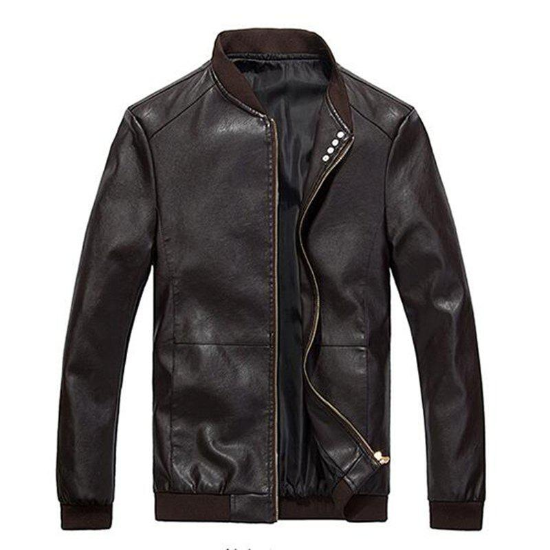 Fashion Men's Casual Daily Simple Winter Fall Leather Jacket Solid Stand Long Sleeve Regular PU