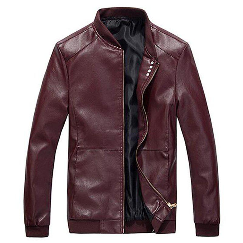 Best Men's Casual Daily Simple Winter Fall Leather Jacket Solid Stand Long Sleeve Regular PU