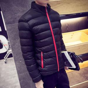 Men's Regular Padded Coat Keep Warm Plus Size Solid Rayon Polyester Long Sleeves -