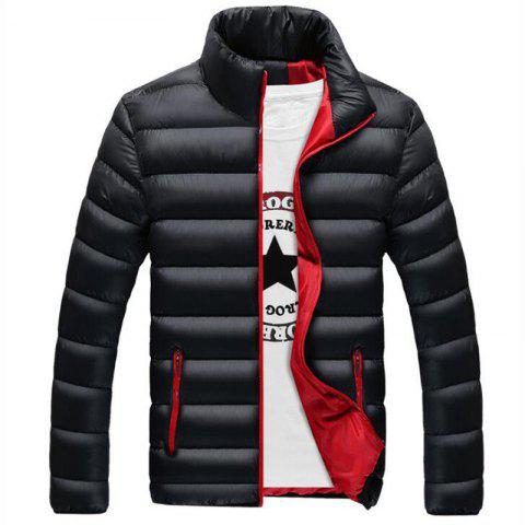Discount Men's Regular Padded Coat Keep Warm Plus Size Solid Rayon Polyester Long Sleeves