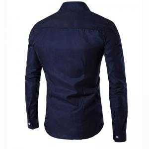 Men's Casual Daily Simple Chinoiserie Spring Fall Shirt Solid Stand Long Sleeves Cotton -