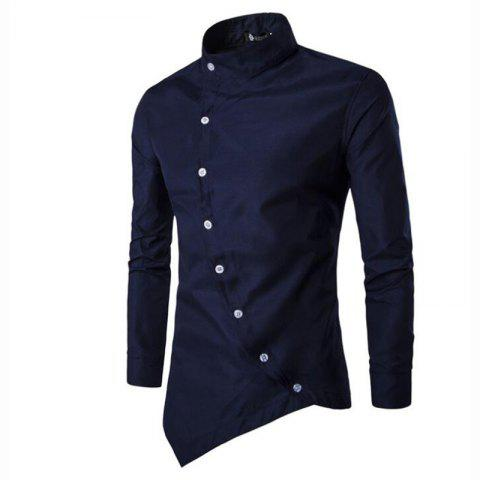Fancy Men's Casual Daily Simple Chinoiserie Spring Fall Shirt Solid Stand Long Sleeves Cotton