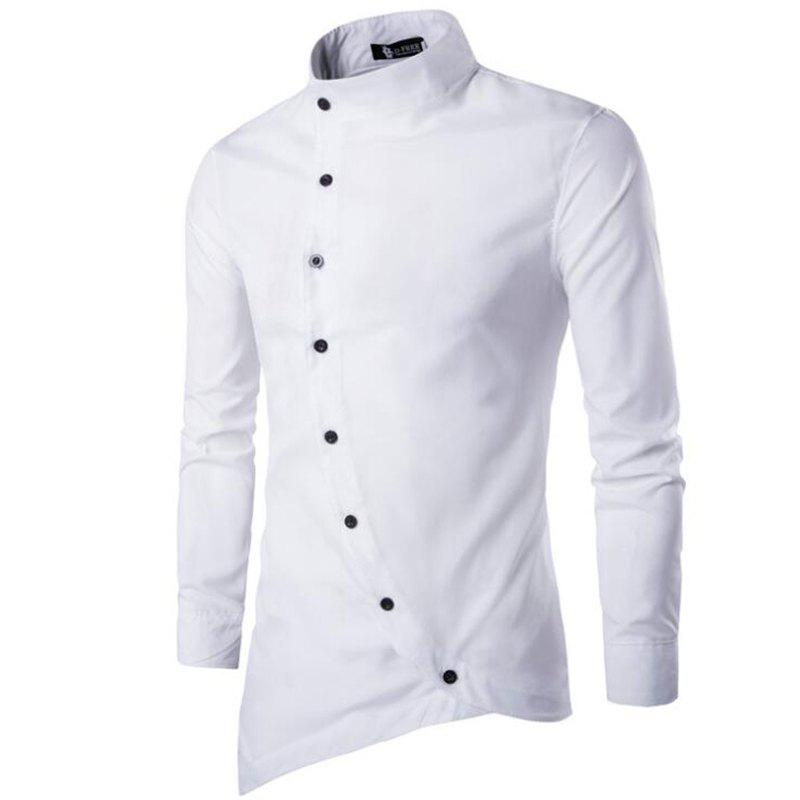 Buy Men's Casual Daily Simple Chinoiserie Spring Fall Shirt Solid Stand Long Sleeves Cotton