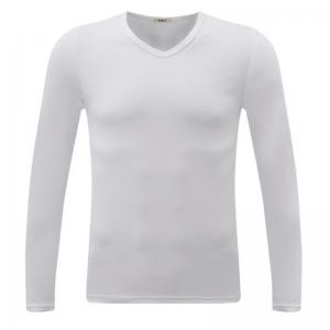 Men's Casual Daily Simple Spring Fall T-shirt Solid V Neck Long Sleeves Cotton Medium T-shirt -