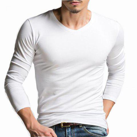 Fancy Men's Casual Daily Simple Spring Fall T-shirt Solid V Neck Long Sleeves Cotton Medium T-shirt
