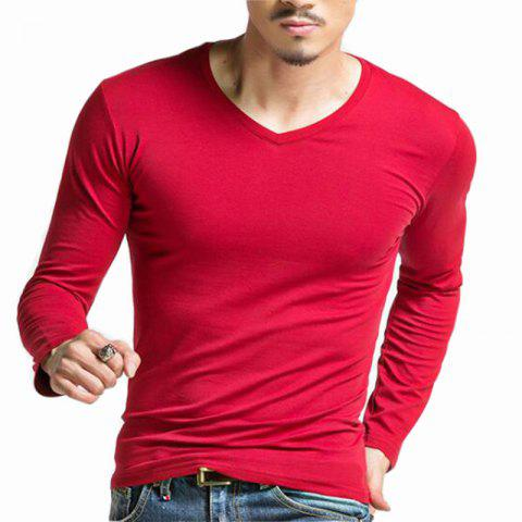 New Men's Casual Daily Simple Spring Fall T-shirt Solid V Neck Long Sleeves Cotton Medium T-shirt
