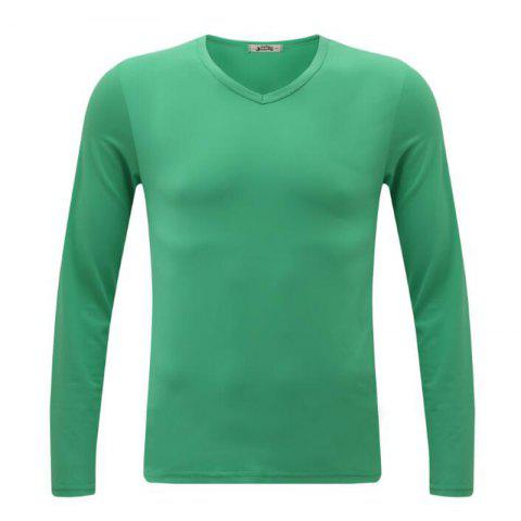 Best Men's Casual Daily Simple Spring Fall T-shirt Solid V Neck Long Sleeves Cotton Medium T-shirt