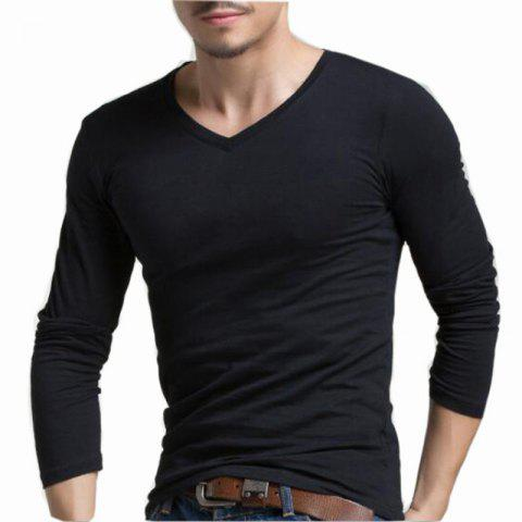 Outfit Men's Casual Daily Simple Spring Fall T-shirt Solid V Neck Long Sleeves Cotton Medium T-shirt