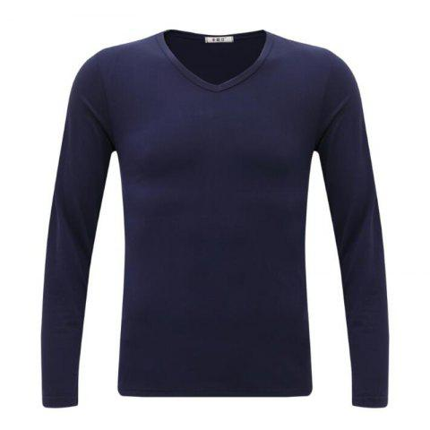 Online Men's Casual Daily Simple Spring Fall T-shirt Solid V Neck Long Sleeves Cotton Medium T-shirt