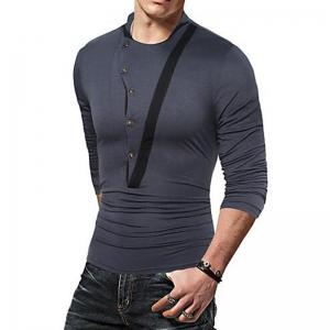 Homme T-shirt Casual Active Automne Hiver Solide Jewel T-shirt Moyen Manches Longues -