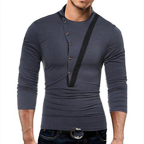 Chic Men's Casual Active Fall Winter T-shirt Solid Jewel Long Sleeve Medium T-shirt
