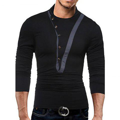 Unique Men's Casual Active Fall Winter T-shirt Solid Jewel Long Sleeve Medium T-shirt