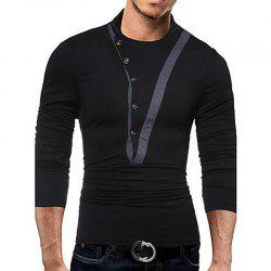 Men's Casual Active Fall Winter T-shirt Solid Jewel Long Sleeve Medium T-shirt -
