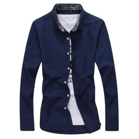 Sale Men's Plus Size Casual Daily Simple All Seasons Shirt Solid Stand Long Sleeves