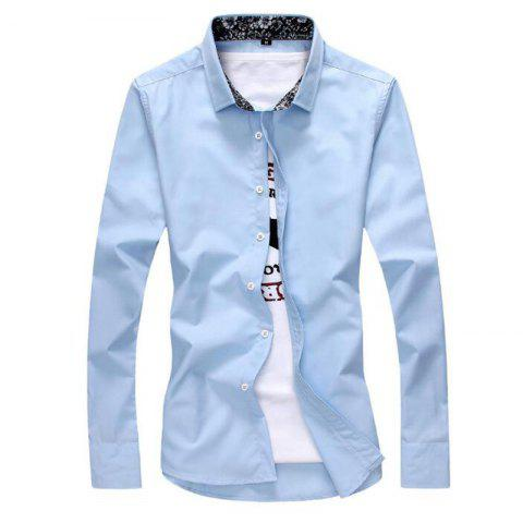 Fancy Men's Plus Size Casual Daily Simple All Seasons Shirt Solid Stand Long Sleeves