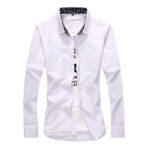 Online Men's Plus Size Casual Daily Simple All Seasons Shirt Solid Stand Long Sleeves