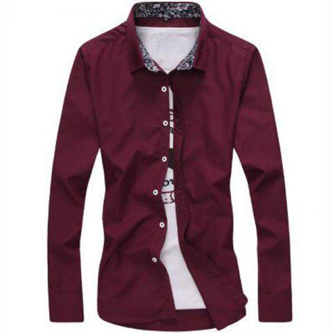 Shop Men's Plus Size Casual Daily Simple All Seasons Shirt Solid Stand Long Sleeves