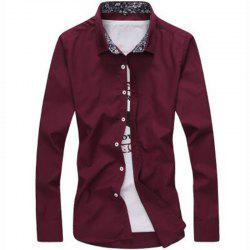 Men's Plus Size Casual Daily Simple All Seasons Shirt Solid Stand Long Sleeves -