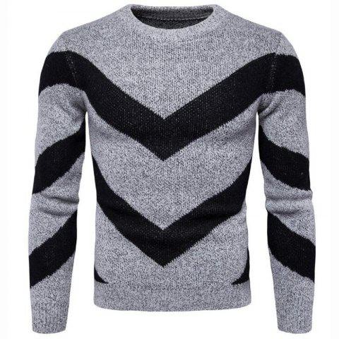 Buy Men's Casual Daily Plus Size Simple Regular Pullover Color Block Round Neck Long Sleeves Cotton Polyester Sweater