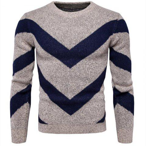 Trendy Men's Casual Daily Plus Size Simple Regular Pullover Color Block Round Neck Long Sleeves Cotton Polyester Sweater