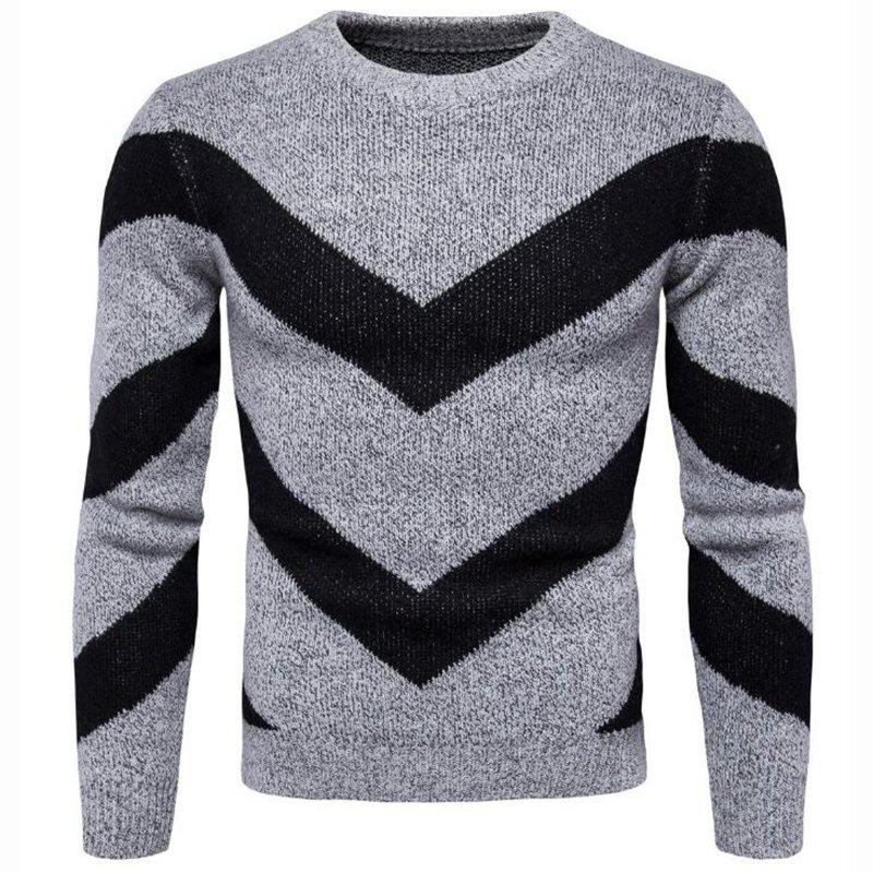 Shops Men's Casual Daily Plus Size Simple Regular Pullover Color Block Round Neck Long Sleeves Cotton Polyester Sweater