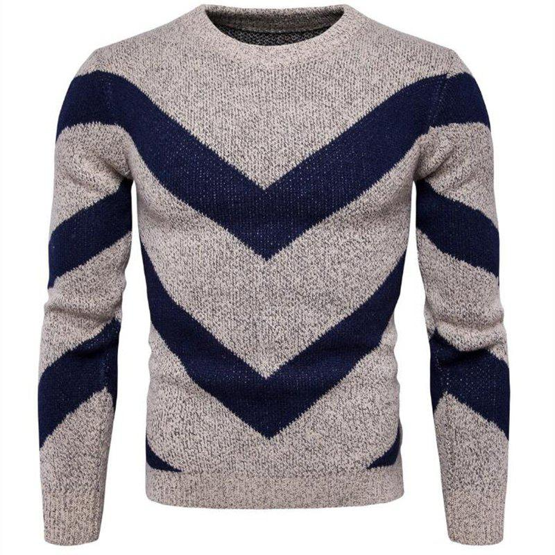 Shop Men's Casual Daily Plus Size Simple Regular Pullover Color Block Round Neck Long Sleeves Cotton Polyester Sweater