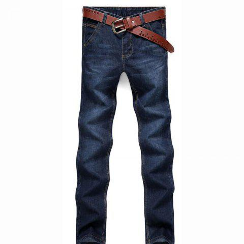 Chic Men's Mid Rise Micro Elastic Simple Slim Solid Jeans Pants