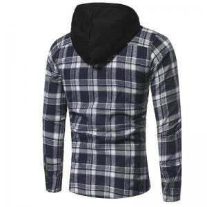 Men's Casual Solid  Patchwork Shirt Collar Long Sleeve Cotton -