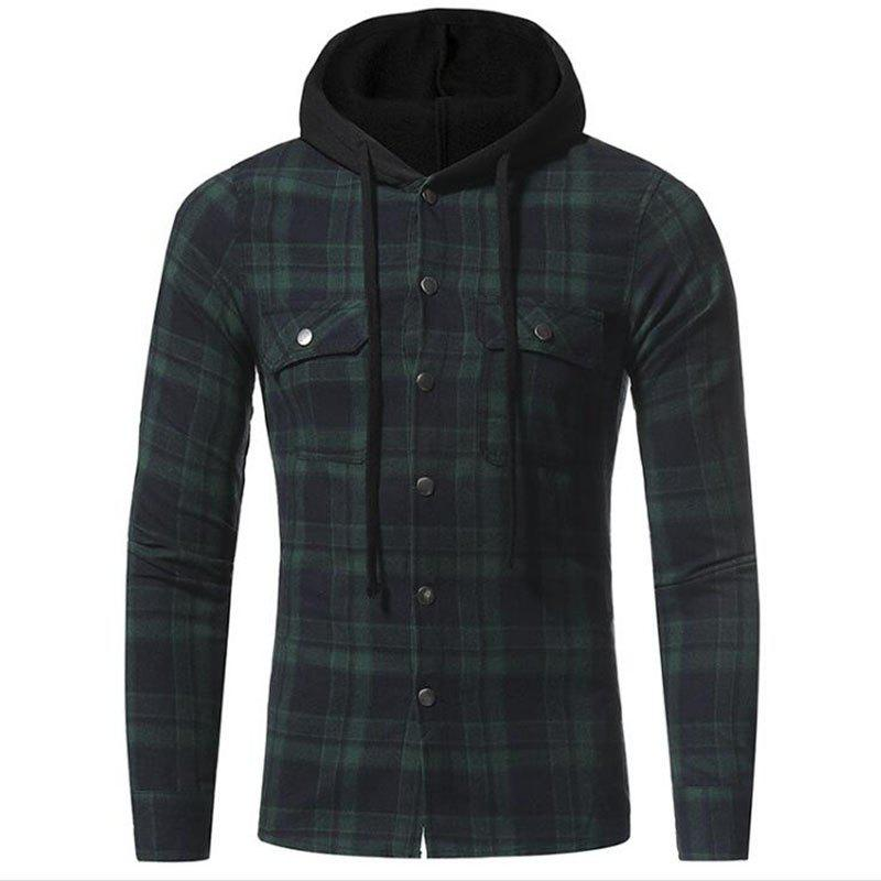 Store Men's Casual Solid  Patchwork Shirt Collar Long Sleeve Cotton