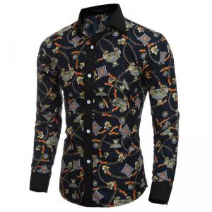 Men's Party Going out Club Vintage Active Chinoiserie All Seasons Shirt Floral Standing Collar Long Sleeves Polyester shirt -