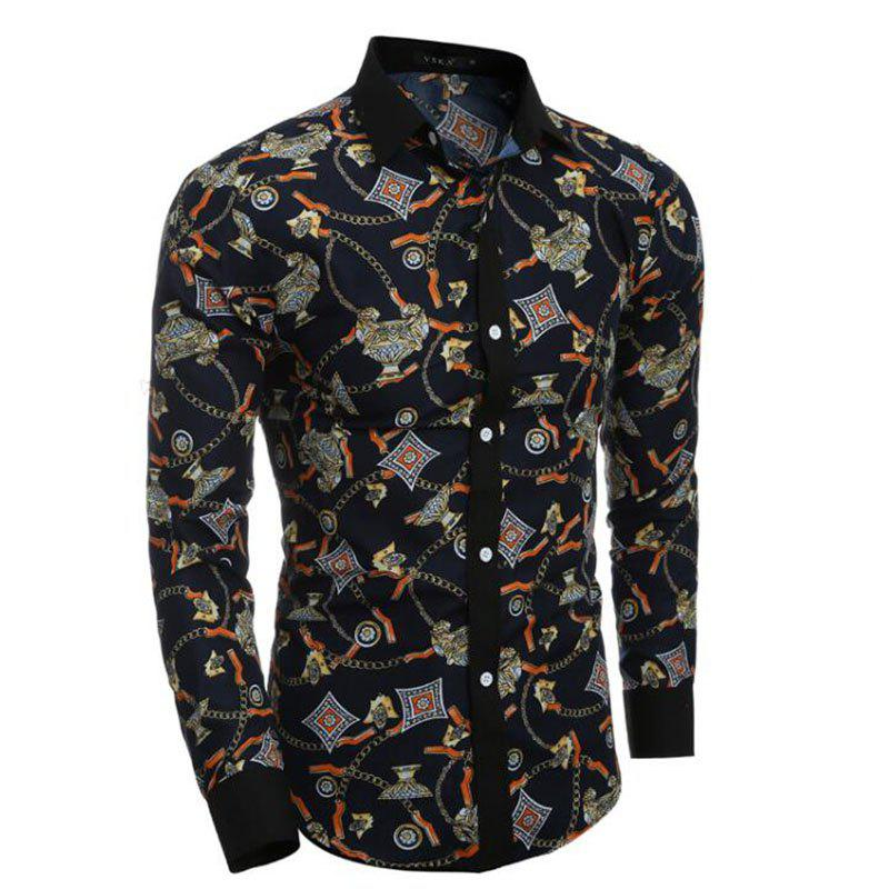 Outfit Men's Party Going out Club Vintage Active Chinoiserie All Seasons Shirt Floral Standing Collar Long Sleeves Polyester shirt