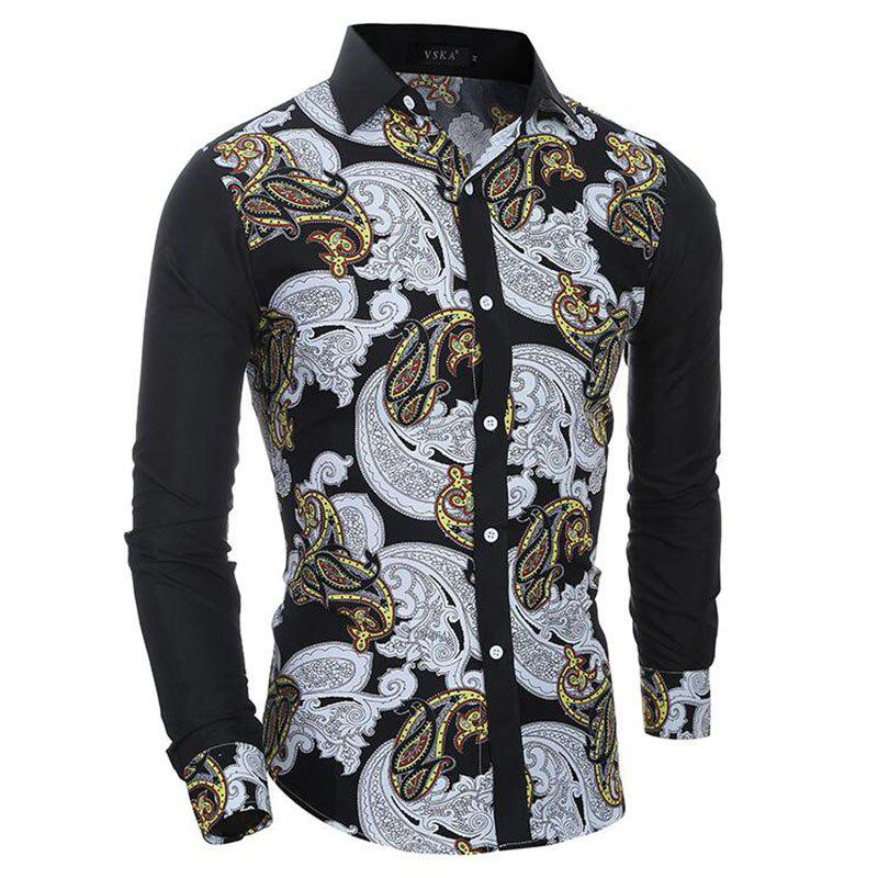 Outfit Men's Casual Print Slim Fit Long Sleeve Shirt