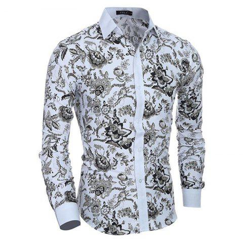Fancy Men's Casual/Daily Simple Spring Fall Shirt Print Long Sleeves Cotton