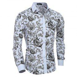 Men's Casual/Daily Simple Spring Fall Shirt Print Long Sleeves Cotton -