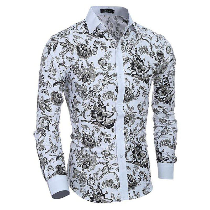 Shops Men's Casual/Daily Simple Spring Fall Shirt Print Long Sleeves Cotton