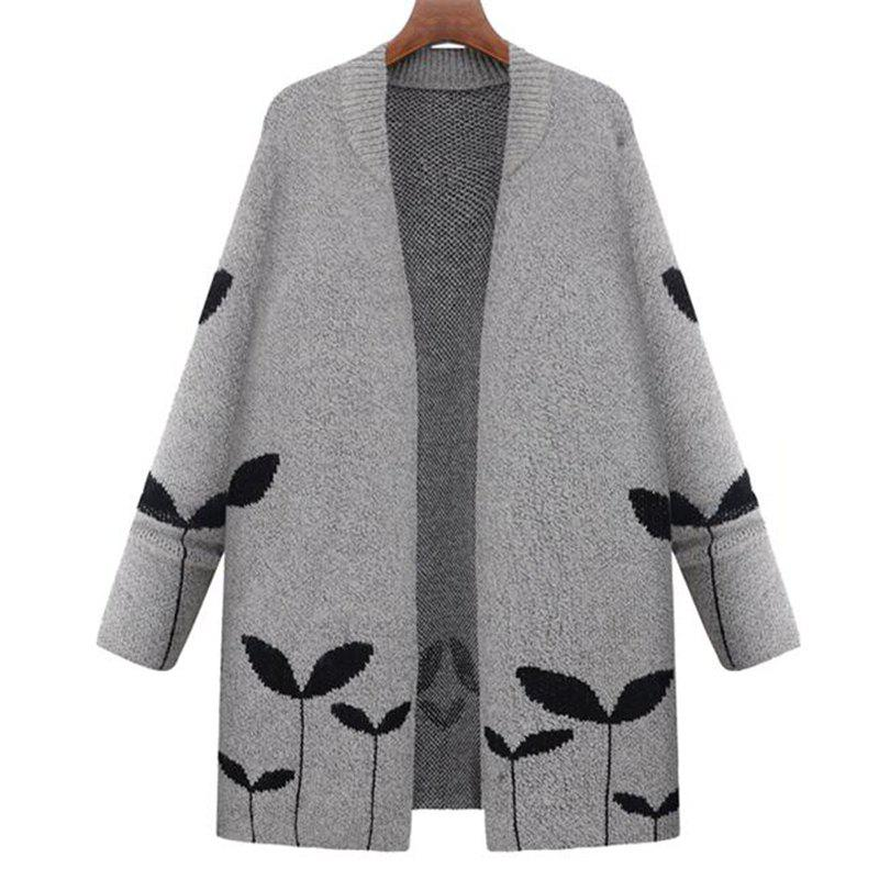 Plus Size Casual Travail quotidien Vintage Simple Street Chic Cardigan long