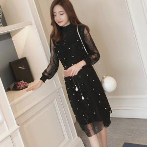 Women's Going out Work Plus Size Simple Cute Sexy Shift Dress Solid Stand Midi Knee Length Long Sleeves Polyester Summer -