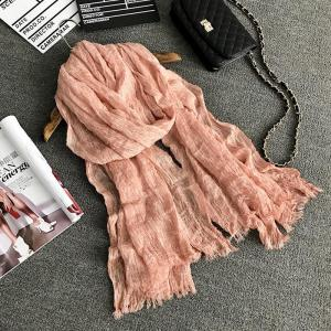 The Spring and Autumn New Europe Do Pure Cotton Towel Broken Edges Widened Beggar Scarf -