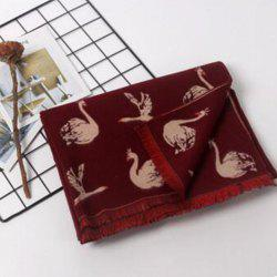 Autumn and winter imitation cashmere scarf female Swan printing warm shawl collar -